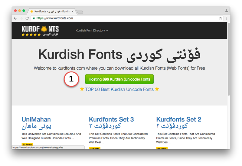 Downloading Kurdish Unicode Fonts from kurdfonts.com on Mac
