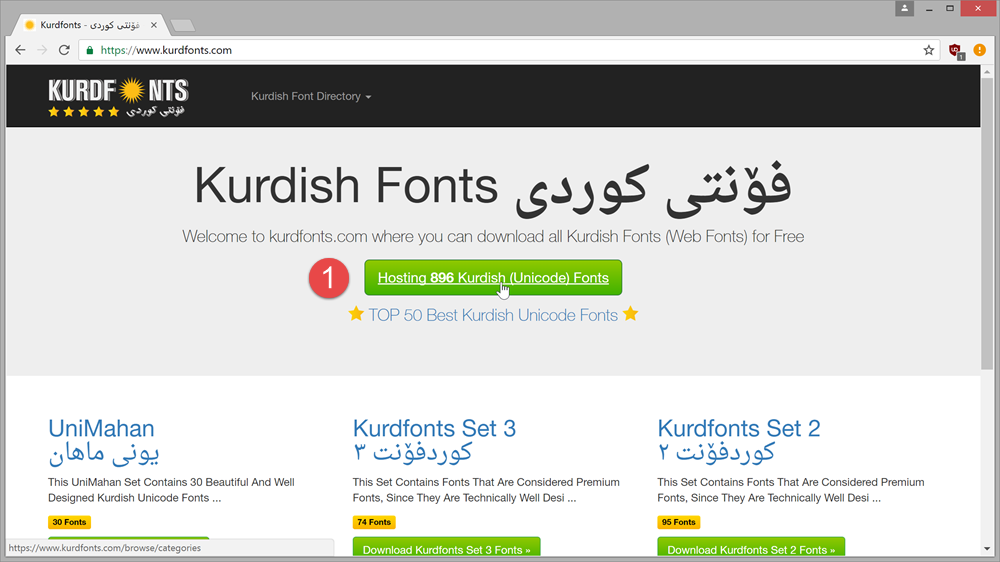 Downloading Kurdish Unicode Fonts from kurdfonts.com